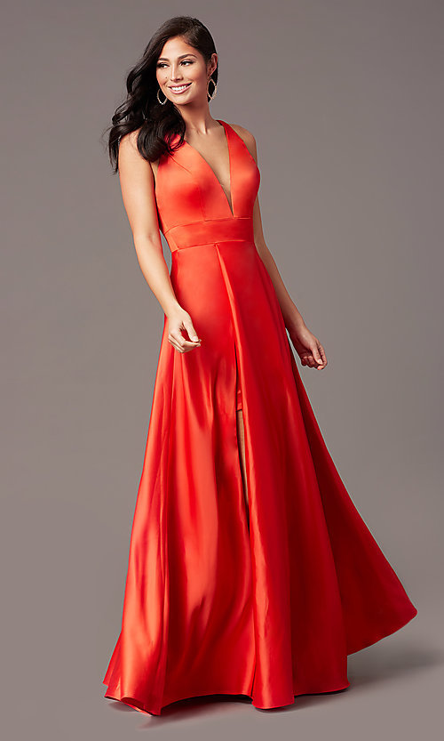Image of PromGirl long v-neck faux-wrap prom dress. Style: PG-F2009 Detail Image 4