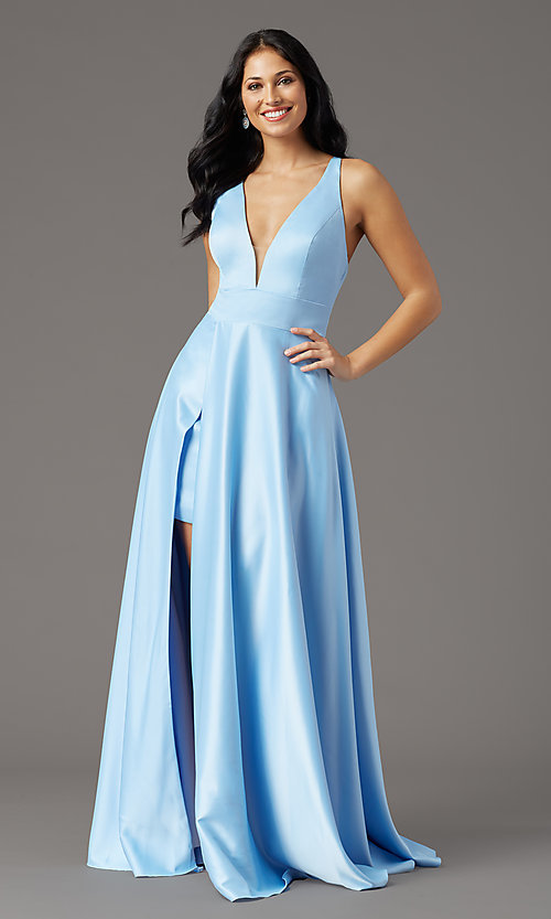 Image of PromGirl long v-neck faux-wrap prom dress. Style: PG-F2009 Detail Image 5
