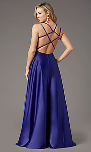 Image of square-neck long satin prom dress by PromGirl. Style: PG-F2012 Detail Image 4