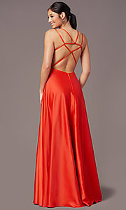 Image of square-neck long satin prom dress by PromGirl. Style: PG-F2012 Detail Image 7