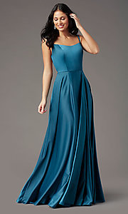 Image of square-neck long satin prom dress by PromGirl. Style: PG-F2012 Detail Image 2
