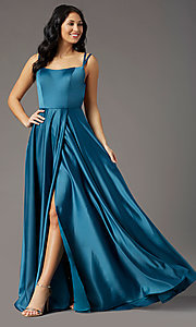 Image of square-neck long satin prom dress by PromGirl. Style: PG-F2012 Front Image