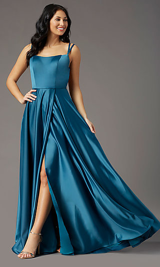 Square-Neck Long Satin Prom Dress by PromGirl