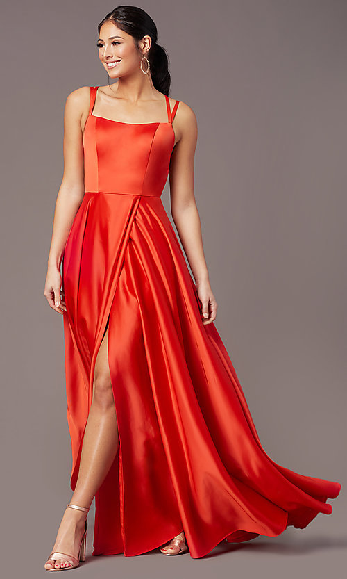 Image of square-neck long satin prom dress by PromGirl. Style: PG-F2012 Detail Image 6