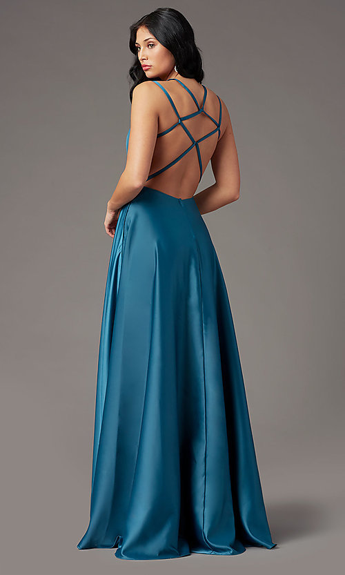 Image of square-neck long satin prom dress by PromGirl. Style: PG-F2012 Back Image