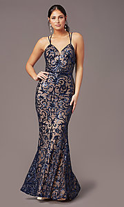Image of PromGirl vintage-inspired long sequin prom dress. Style: PG-F2020 Detail Image 3