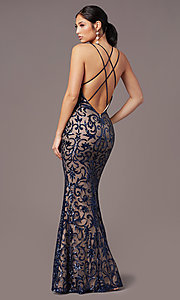 Image of PromGirl vintage-inspired long sequin prom dress. Style: PG-F2020 Detail Image 4