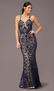 Image of PromGirl vintage-inspired long sequin prom dress. Style: PG-F2020 Detail Image 6
