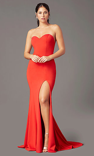 Long Sweetheart Strapless Prom Dress by PromGirl