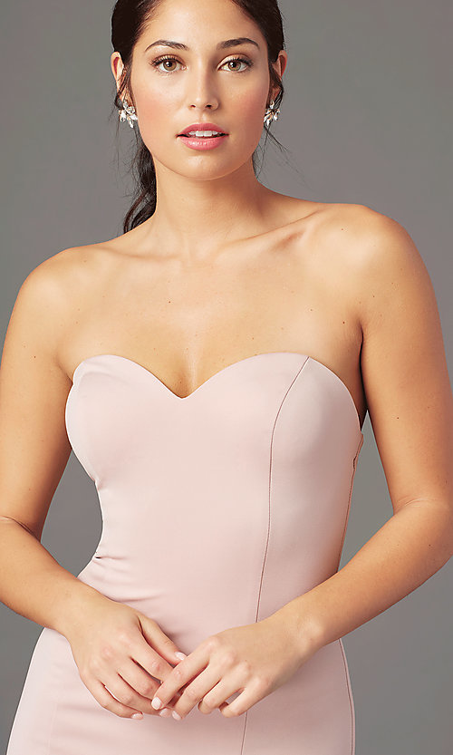 Image of long sweetheart strapless prom dress by PromGirl. Style: PG-F2023 Detail Image 7