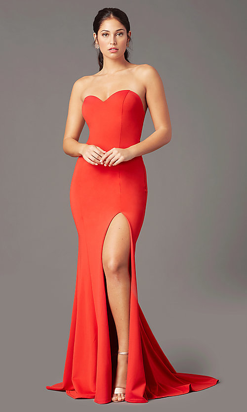 Image of long sweetheart strapless prom dress by PromGirl. Style: PG-F2023 Front Image