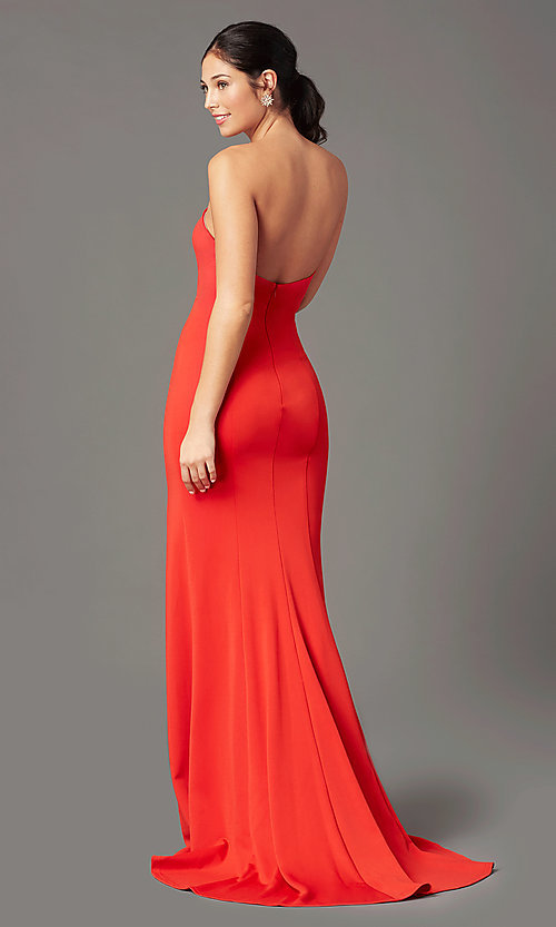 Image of long sweetheart strapless prom dress by PromGirl. Style: PG-F2023 Back Image
