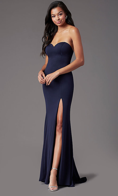 Image of long sweetheart strapless prom dress by PromGirl. Style: PG-F2023 Detail Image 2