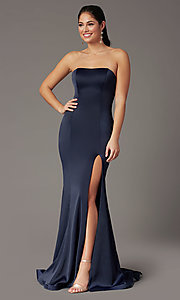 Image of PromGirl satin prom dress with short train. Style: PG-F2024 Front Image