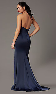 Image of PromGirl satin prom dress with short train. Style: PG-F2024 Back Image