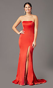Image of PromGirl satin prom dress with short train. Style: PG-F2024 Detail Image 6