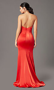 Image of PromGirl satin prom dress with short train. Style: PG-F2024 Detail Image 7