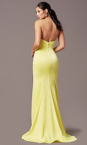 Image of PromGirl satin prom dress with short train. Style: PG-F2024 Detail Image 3