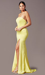 Image of PromGirl satin prom dress with short train. Style: PG-F2024 Detail Image 5
