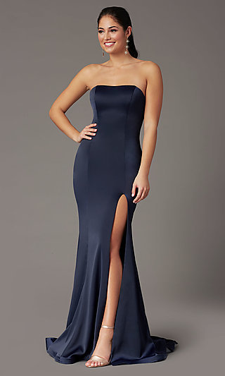 PromGirl Satin Prom Dress with Short Train