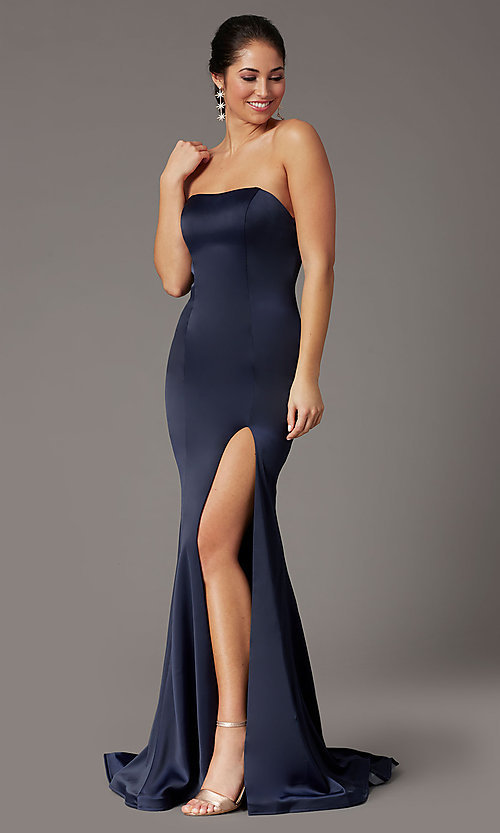 Image of PromGirl satin prom dress with short train. Style: PG-F2024 Detail Image 1