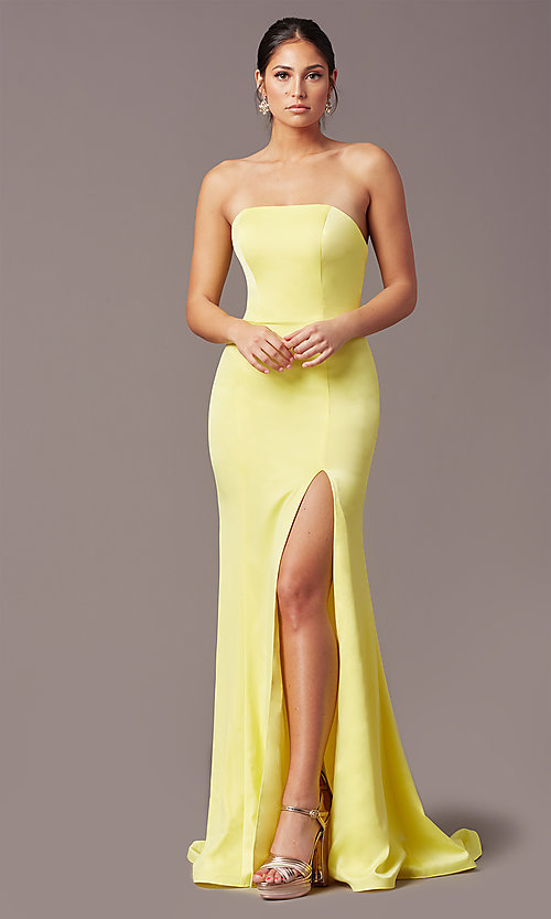 Image of PromGirl satin prom dress with short train. Style: PG-F2024 Detail Image 2
