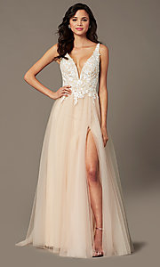 Image of long tulle embroidered-bodice prom dress by PromGirl. Style: PG-F2026 Detail Image 3