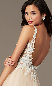Image of long tulle embroidered-bodice prom dress by PromGirl. Style: PG-F2026 Detail Image 2