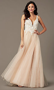 Image of long tulle embroidered-bodice prom dress by PromGirl. Style: PG-F2026 Front Image