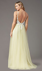 Image of long tulle embroidered-bodice prom dress by PromGirl. Style: PG-F2026 Detail Image 5