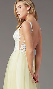 Image of long tulle embroidered-bodice prom dress by PromGirl. Style: PG-F2026 Detail Image 6