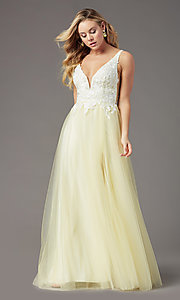 Image of long tulle embroidered-bodice prom dress by PromGirl. Style: PG-F2026 Detail Image 4