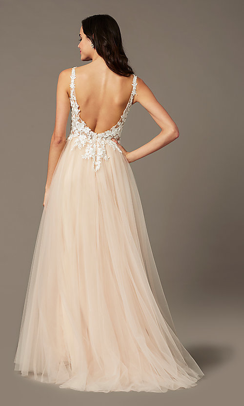 Image of long tulle embroidered-bodice prom dress by PromGirl. Style: PG-F2026 Back Image