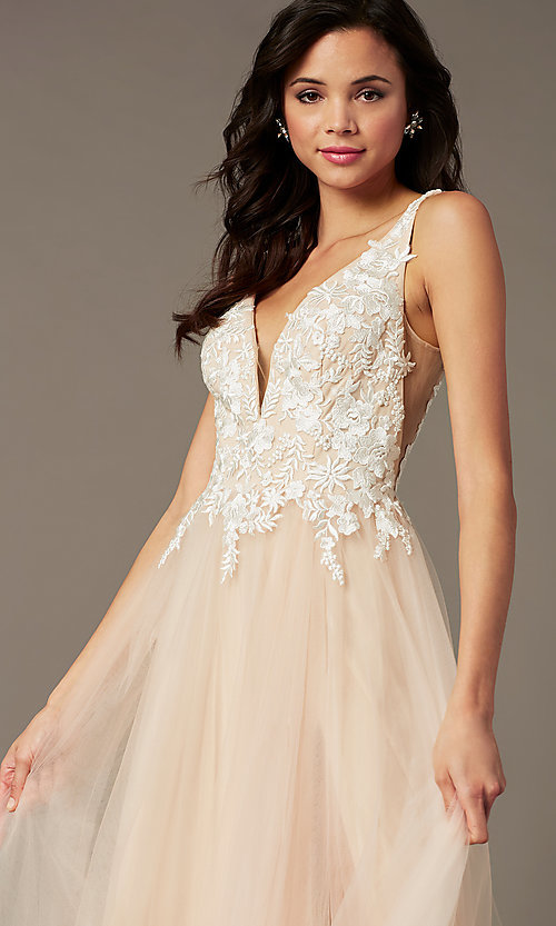 Image of long tulle embroidered-bodice prom dress by PromGirl. Style: PG-F2026 Detail Image 1