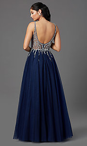 Image of PromGirl long prom dress with beaded sheer bodice. Style: PG-F2029-1 Back Image