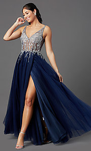 Image of PromGirl long prom dress with beaded sheer bodice. Style: PG-F2029-1 Front Image
