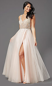 Image of PromGirl long prom dress with beaded sheer bodice. Style: PG-F2029-1 Detail Image 6