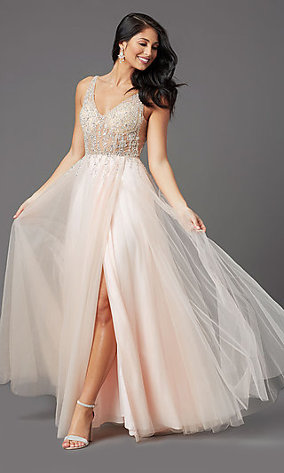 PromGirl Long Prom Dress with Beaded Sheer Bodice