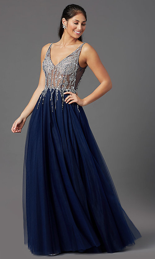 Image of PromGirl long prom dress with beaded sheer bodice. Style: PG-F2029-1 Detail Image 2
