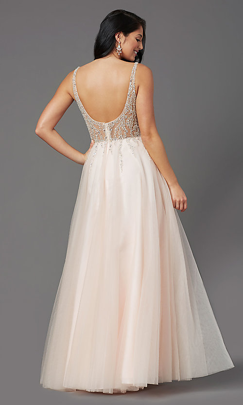 Image of PromGirl long prom dress with beaded sheer bodice. Style: PG-F2029-1 Detail Image 4