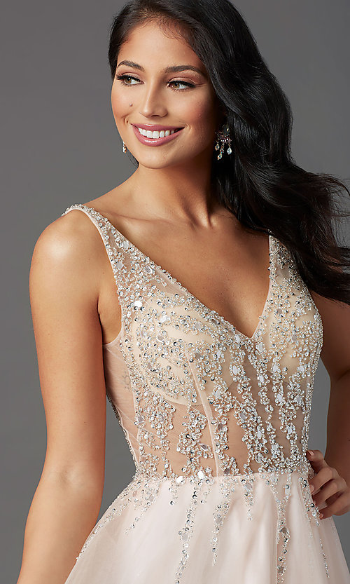 Image of PromGirl long prom dress with beaded sheer bodice. Style: PG-F2029-1 Detail Image 5