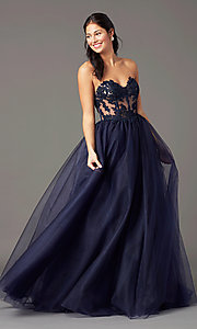 Image of PromGirl long sweetheart illusion prom dress. Style: PG-F2031 Front Image