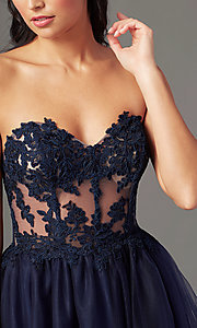 Image of PromGirl long sweetheart illusion prom dress. Style: PG-F2031 Detail Image 1