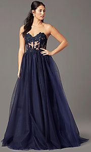 Image of PromGirl long sweetheart illusion prom dress. Style: PG-F2031 Detail Image 2