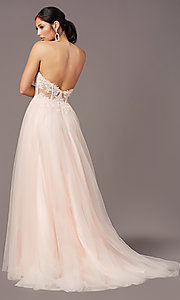 Image of PromGirl long sweetheart illusion prom dress. Style: PG-F2031 Detail Image 4
