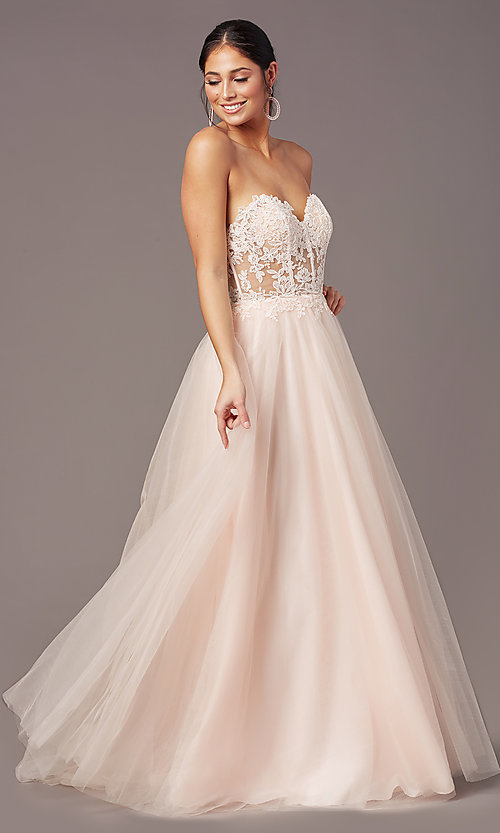 Image of PromGirl long sweetheart illusion prom dress. Style: PG-F2031 Detail Image 3
