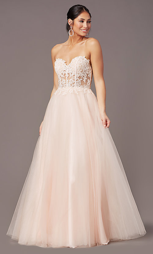 Image of PromGirl long sweetheart illusion prom dress. Style: PG-F2031 Detail Image 6