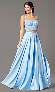 Image of satin long two-piece formal prom dress by PromGirl. Style: PG-F2038 Detail Image 2
