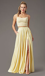 Image of satin long two-piece formal prom dress by PromGirl. Style: PG-F2038 Detail Image 6