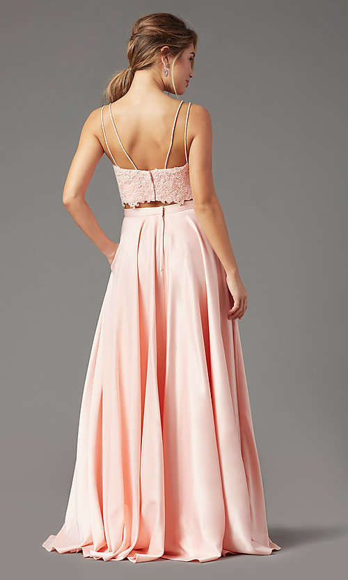 Image of satin long two-piece formal prom dress by PromGirl. Style: PG-F2038 Back Image